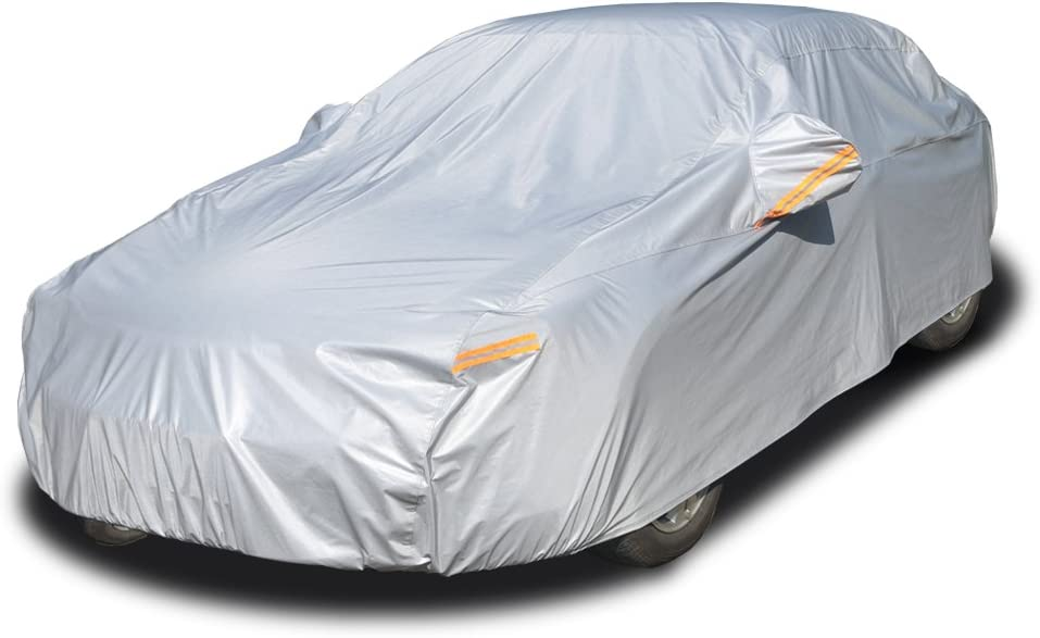 9. Kayme Four Layers Car Cover with Cotton Zipper