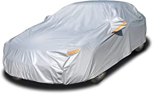 "Kayme 6 Layers Car Cover Waterproof All Weather for Automobiles, Outdoor Full Cover Rain Sun UV Protection with Zipper Cotton, Universal Fit for Sedan (186""-193"")"