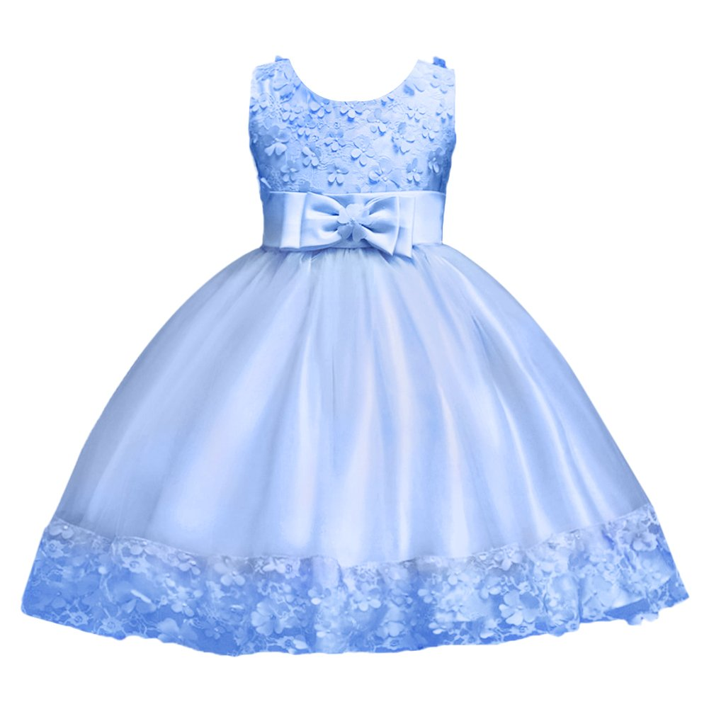 FYMNSI 3D Flower Girl Dress Kids Princess Tutu Wedding Bridesmaid Dress Little Big Girl Birthday Party Christening Formal Pageant Dresses Toddler Baby Sleeveless Lace Tulle Bowknot Dress for 1-10Y