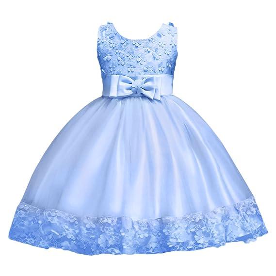 FYMNSI Kinder Mädchen Partykleid Blumen Tutu Prinzessin Hochzeit Brautjungfer Kleid Blumenmädchen Festlich Abendkleid Kleinki