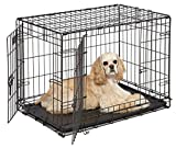 MidWest 30' iCrate Double Door Folding Metal Dog Crate w/ Divider Panel,...