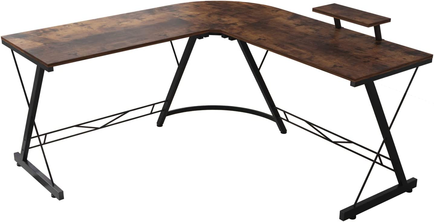 Corner Side L Shaped Table, Home Office Computer Desk with Small Desktop Shelf, Study Writing Desk with Round Fillet Edge, Desks for SOHO, Gaming Workstation with Monitor Stand (Rustic Brown)