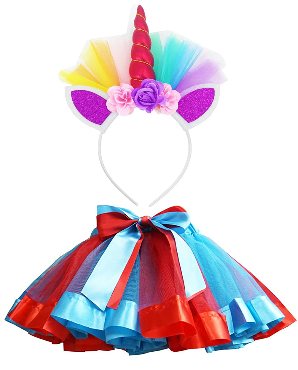 LYLKD Little Girls Layered Rainbow Tutu Skirts with Unicorn Horn Headband