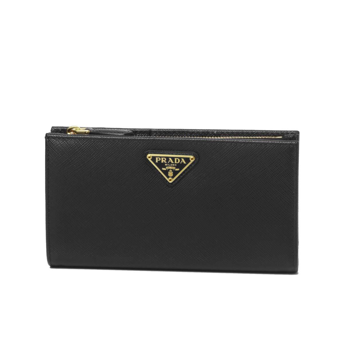 (プラダ) PRADA 二つ折り財布 SAFFIANO TRIANGOLO ブラック 1ML009 QHH F0002 [並行輸入品] B07RW6R3TB