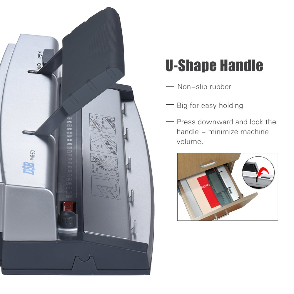 Aibecy DSB WR-60 A4 Paper Puncher + Binder Punch Wire Binding Machine 34/32 Holes, 6 Sheets Punching, 45 Sheets Binding, Support 6.4mm Wire by Aibecy (Image #5)