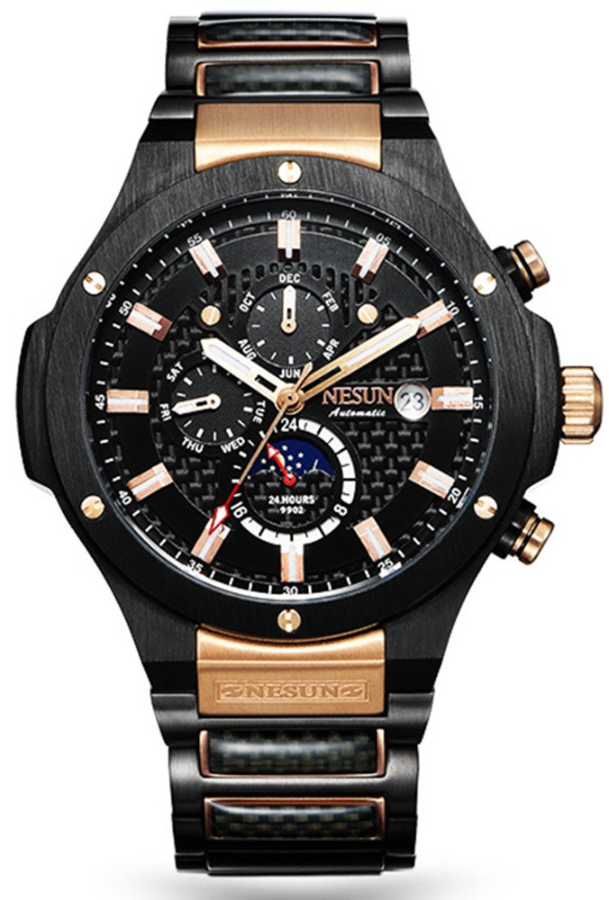 Men's Military Multifunction Automatic Mechanical Analog Stainless Steel Black Sports Luminous Watch (Rose Gold-Black)