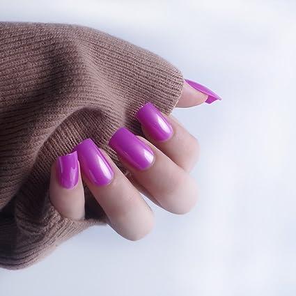 24pcs 12 diferentes tamaño invierno Candy sólido elegante morado parte media longitud cuadrados completo para uñas