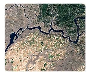 Decorative Mouse Pad Art Print Landscape and Plants River Gorge Satelite View by icecream design