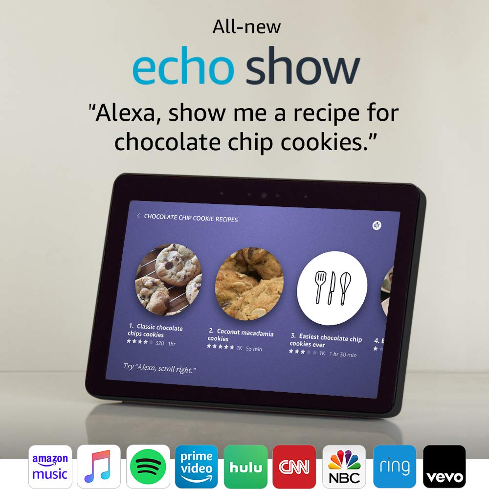 """All-new Echo Show (2nd Gen) – Premium sound and a vibrant 10.1"""" HD screen - Charcoal"""