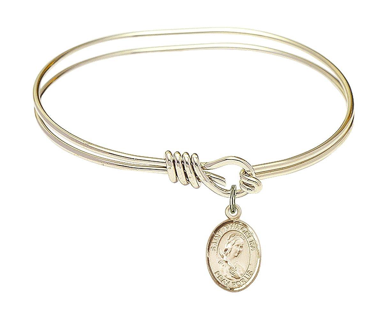 DiamondJewelryNY Eye Hook Bangle Bracelet with a St Philomena Charm.