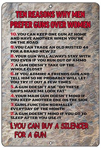 Rogue River Tactical Funny Pro 2nd Amendment Metal Tin Sign Wall Decor Man Cave Bar Prefer Guns Over Women