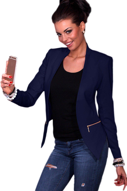 Women Elegant Long Sleeve Pure Slim Office Suit CAONY05470