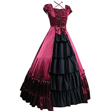 Partiss Womens Sleeveless Victoria Gothic Lolita Prom Dress Costumes,,XS,Red