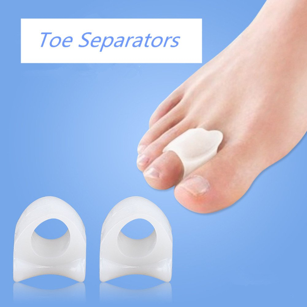 Toe Separators Straighteners Gel Soft for Toe-separating, Bunion-relief, Yogi-relaxing, Hammer Toes and More, Easy Wear for Women and Men (S/L, 5 Pair)
