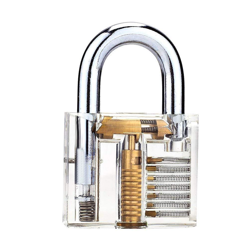 50mm Training Lock Professional Cutaway Inside View of Practice Keyed Padlocks Training Skill Pick for Locksmith with 2 Keys Loboo Idea Transparent Padlock