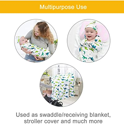 Buy 100% Cotton Knitted Baby Swaddle Blanket with Hat Set, 35x35, Newborn  Swaddle Wrap, Receiving Blankets, Burping Cloth & Stroller Cover, Perfect  for Boys Girls(Grey Stripe) Online in Indonesia. B07RV9T9QZ
