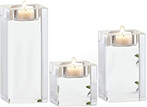 Le Sens Amazing Home Candle Holders Set of 3, 2.3/3.9/5.5 inches Elegant Heavy Crystal Cuboid Tealight Holder Clear Square Glass Candle Holder Centerpiece and Home Decoration