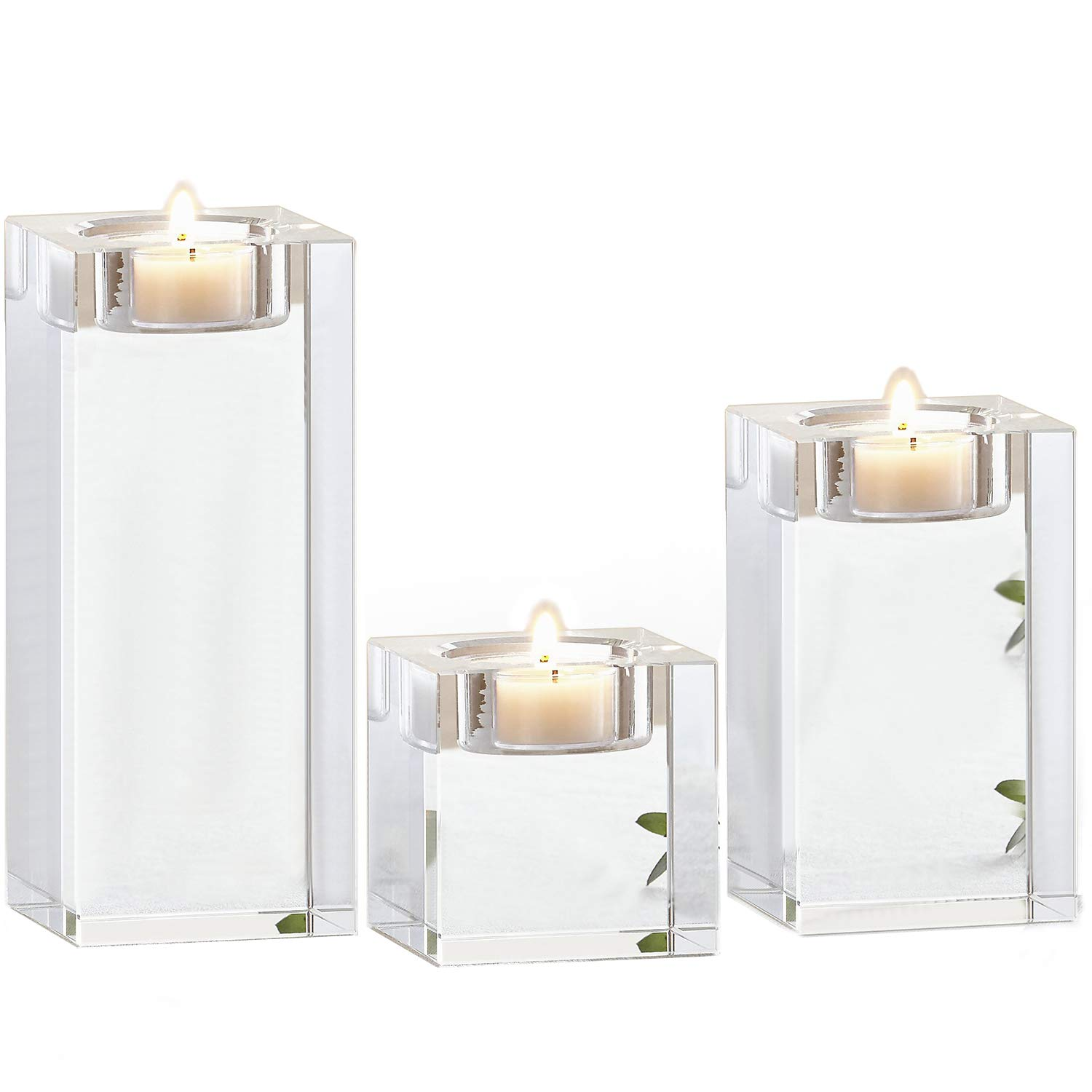 Amazing Home Candle Holders Set of 3, 2.3/3.9/5.5 inches Height Elegant Heavy Crystal Tealight Holder Clear Square Glass Cube Candle Holder for Wedding Centerpiece and Home Decor