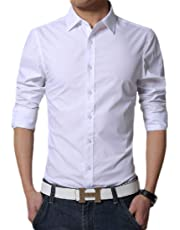 UUYUK Men Casual Slim Fit Solid Color Long Sleeve Button Down Shirt
