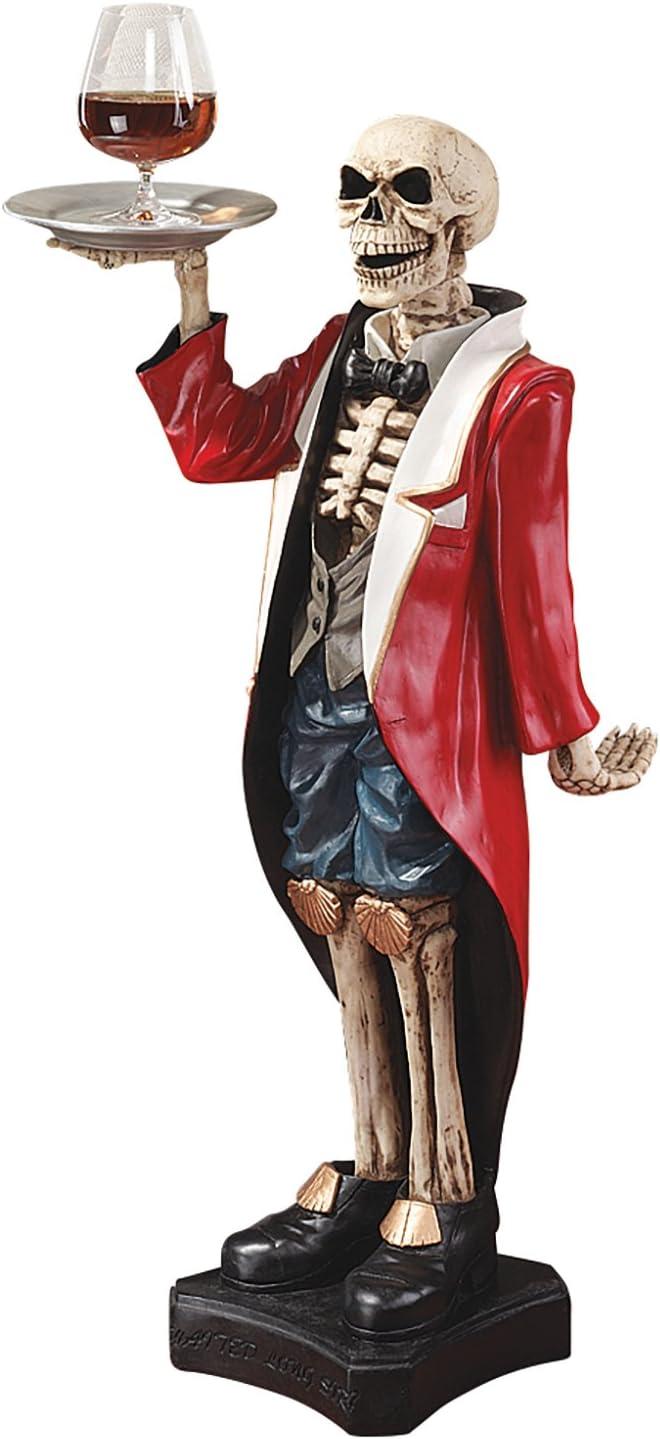 Design Toscano Bones the English Skeleton Butler Gothic Pedestal Table, 36 Inch, Polyresin, Full Color,CL984
