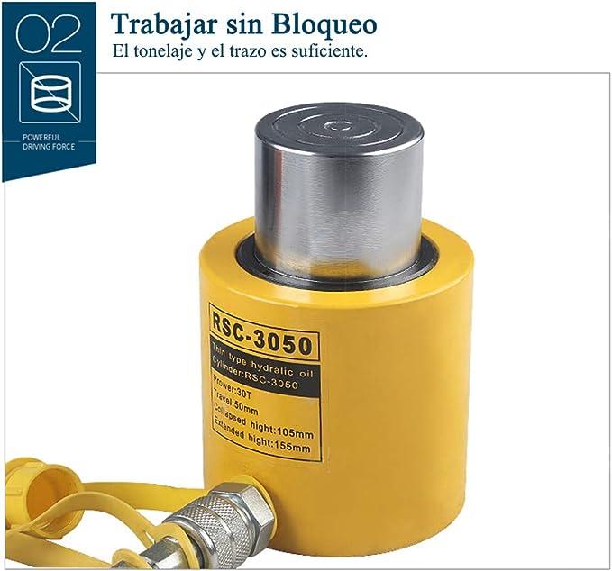 Cylindre de V/érin Hydraulique Course de 50 mm VEVOR Cric Cylindre Hydraulique Creux 30T V/érin Hydraulique de Cylindre /à Piston Creux Hydraulique V/érin de Levage Connecteur Rapide Levage Facile
