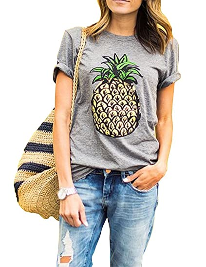8bc2f1c9755 Haola Women s Summer Street Printed Tops Funny Juniors T Shirt Short Sleeve  Tees Grey2 S
