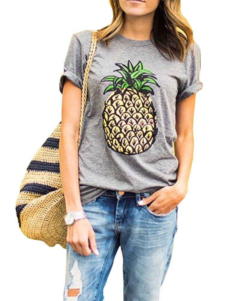 Haola Women's Summer Street Printed Tops Funny Juniors T Shirt Short Sleeve Tees Grey2 S