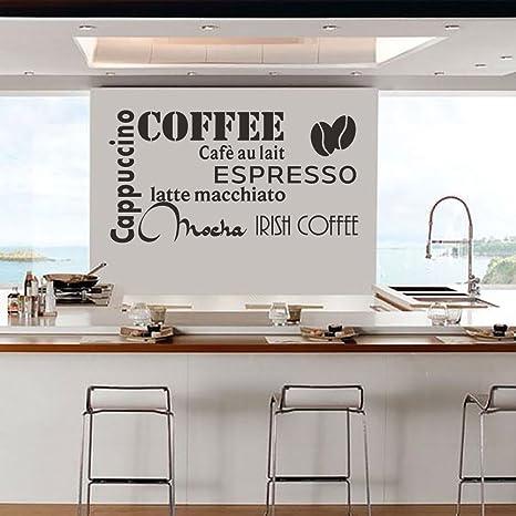 DecalMile Nero Caffè Scritte e Frasi Adesivi Murali Cappuccino ...