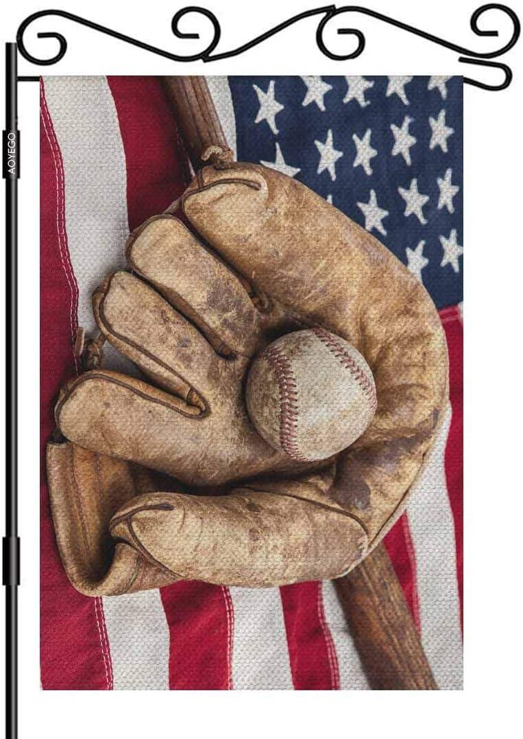 AOYEGO Baseball Small Garden Flag Vertical Double Sided 12.5 x 18 Inch Bat and Glove on an American Flag Farmhouse Burlap Yard Outdoor Decor