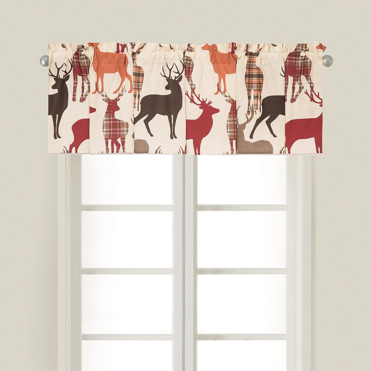 C F Home Colton Lodge Cabin Deer Camping Forest Red Cream Brown Cotton Bedroom Guestroom Premium Window Valance Set of 2 Valance Set of 2 tan