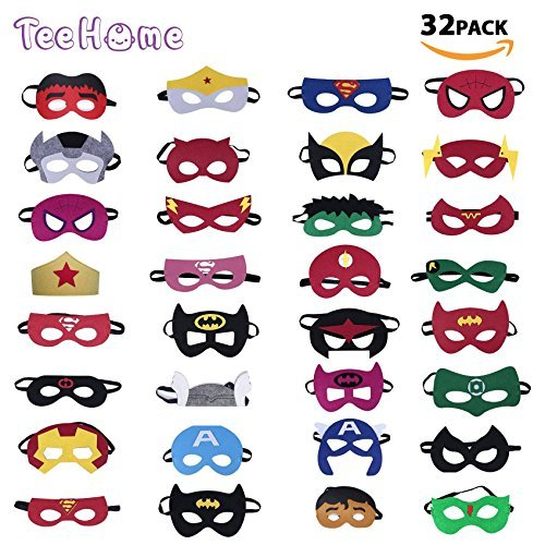 TEEHOME Superhero Masks Party Favors with 32pcs Perfect Fit For Children Aged 3+