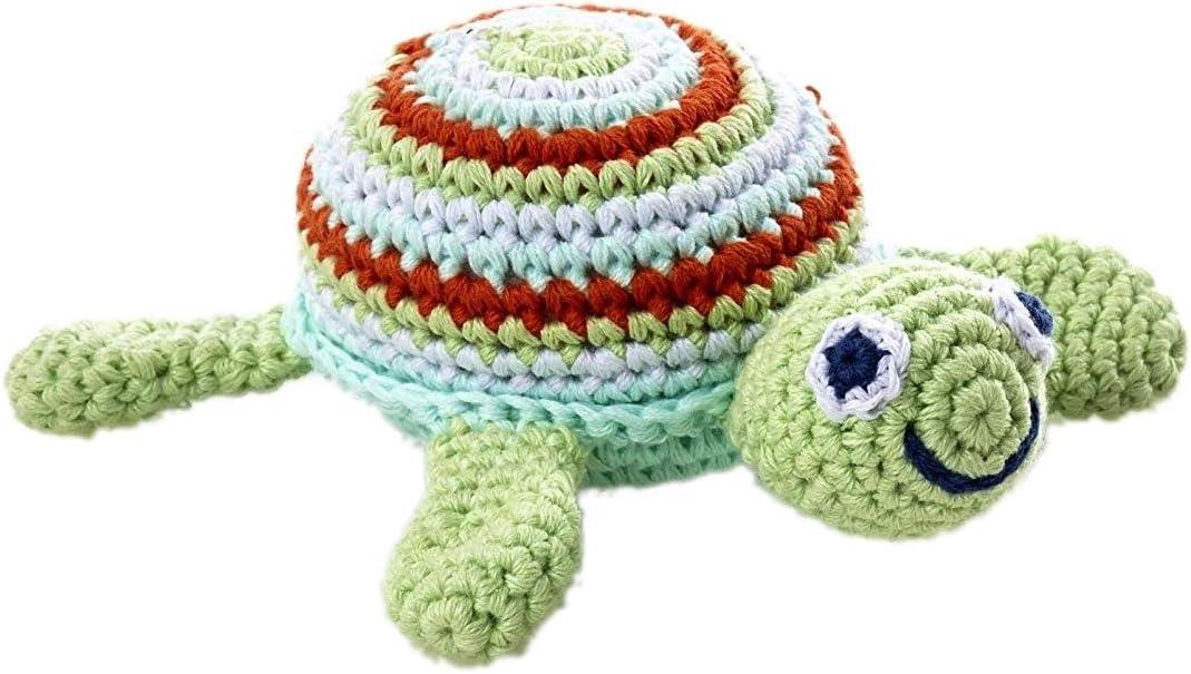 Pebble Fair Trade Hand Made PlushToy Green Sea Turtle Rattle