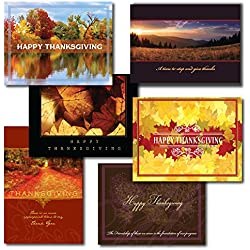 ZilloMart Business Thanksgiving Greeting Card Assortment. Five each of six different designs and verses. Send to clients, employees and business associates.