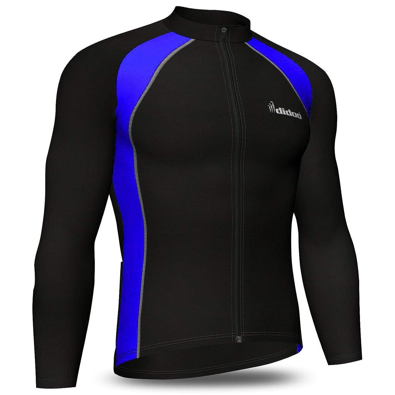 cfbaa06e25 Didoo Mens cycling jersey, Thermal long sleeve, Full Zipper, Fleece,  Breathable, Lightweight, High Visibility, Cold Wear Tops MTB Mountain Bike  racing ...