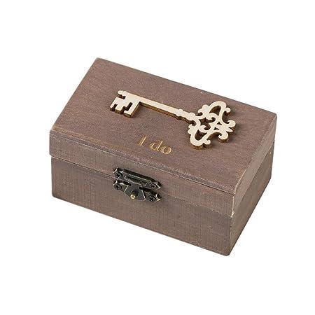 Caja de Slmacenamiento, Personalizada retro boda anillo caja titular mal elegante rústico de madera caja del portador LMMVP (G, Mostrar como la imagen): ...