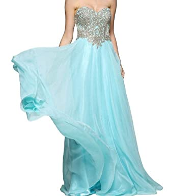Kivary Sweetheart Gold Lace Crystals Long A Line Beaded Formal Prom Evening Dresses Aqua US 2