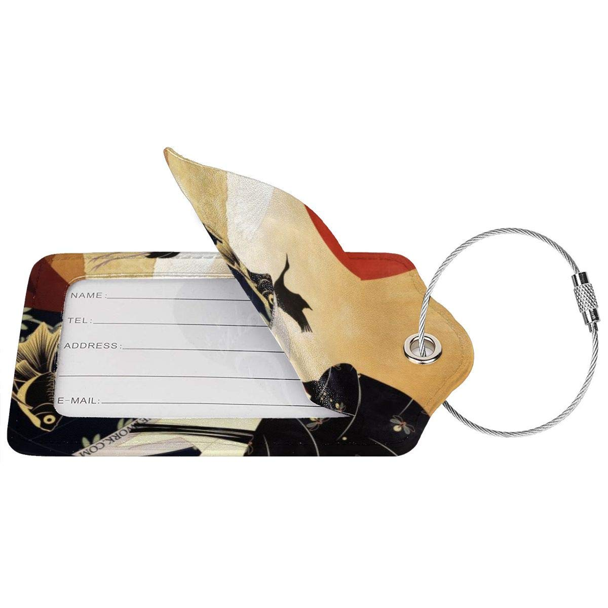 Red-Crowned Crane Art Luggage Tag Label Travel Bag Label With Privacy Cover Luggage Tag Leather Personalized Suitcase Tag Travel Accessories