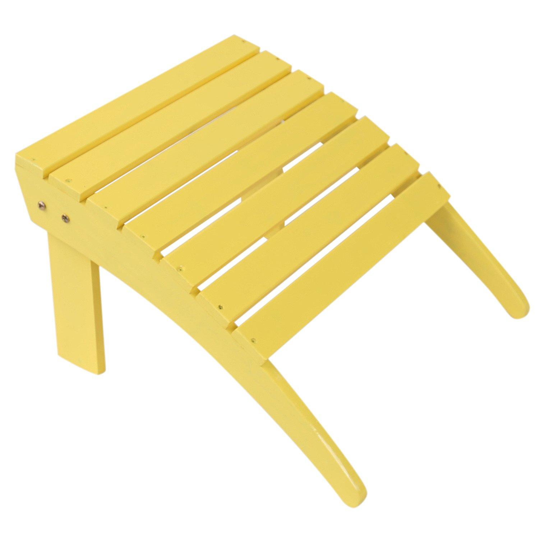 Emirc Fashion Outdoor Wood adirondack chairs Ottoman Patio Deck Garden Furniture (Adult,Yellow)