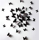 NiceButy Lot de 12 stickers Muraux 3D Papillons Mural Autocollants Papiers Décoration bricolage papillon amovible Réutilisable DIY Autocollants pour décoration Fammille ou Chambre Salon Noir