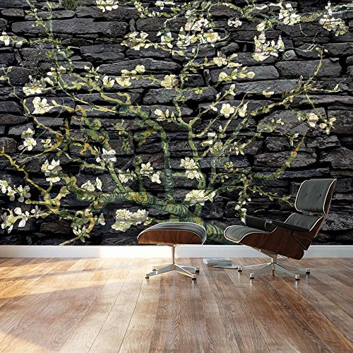 Almond Blossom by Vincent Van Gogh Floral painting on a rich black brick textured background Wall Mural