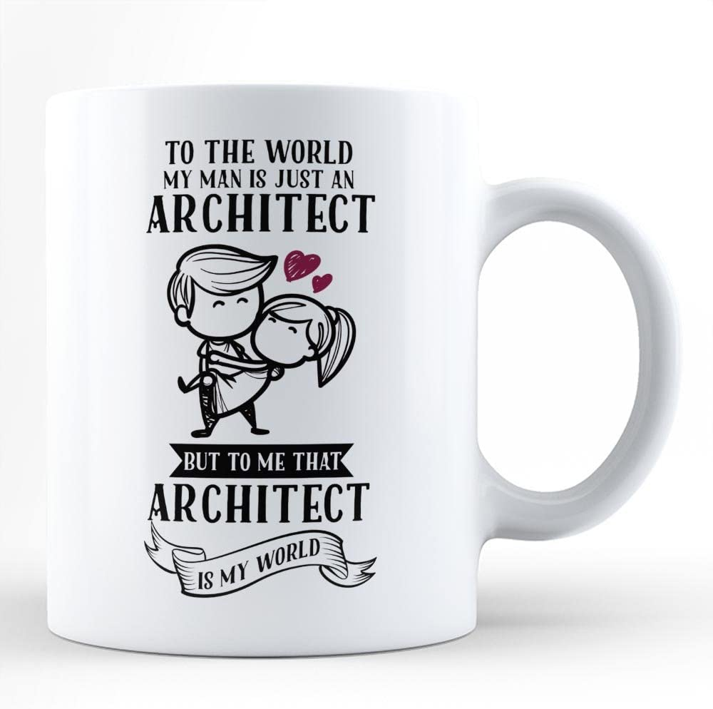 Amazon Com Gift For Architect Boyfriend Husband For Valentine S Day From Girlfriend Cute Funny Design Surprise Gift White Coffee Mug Kitchen Dining