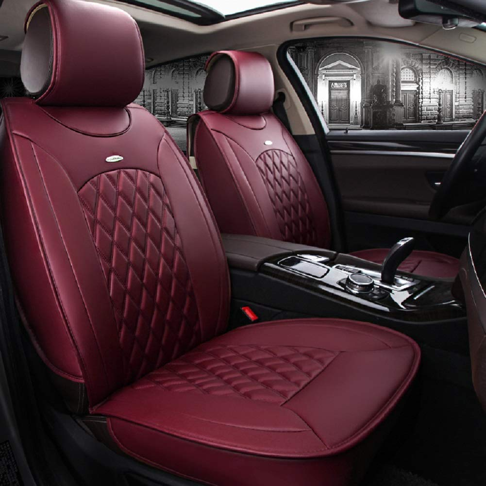 Skysep Red Wine Full Set Universal Fit 5 Seats Car Surrounded Solid Color Waterproof Leather Car Seat Covers Protector Adjustable Removable Auto Seat Cushions with 2 Waist Pillows 2 Headrest Pillows by Skysep (Image #2)