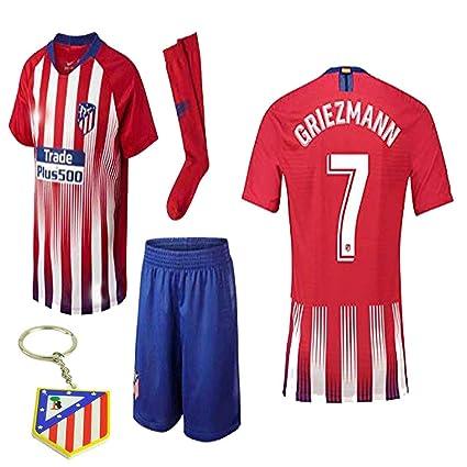 new product c2c94 256c9 Atletico Madrid La Liga 2018 19 Replica Antonio Griezmann Kid Jersey Kit :  Shirt, Short, Socks, Bag, Key Chain