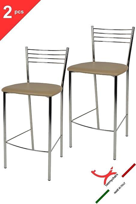 Set 2 sgabelli per cucina e bar moderni, alti con robusta struttura ...