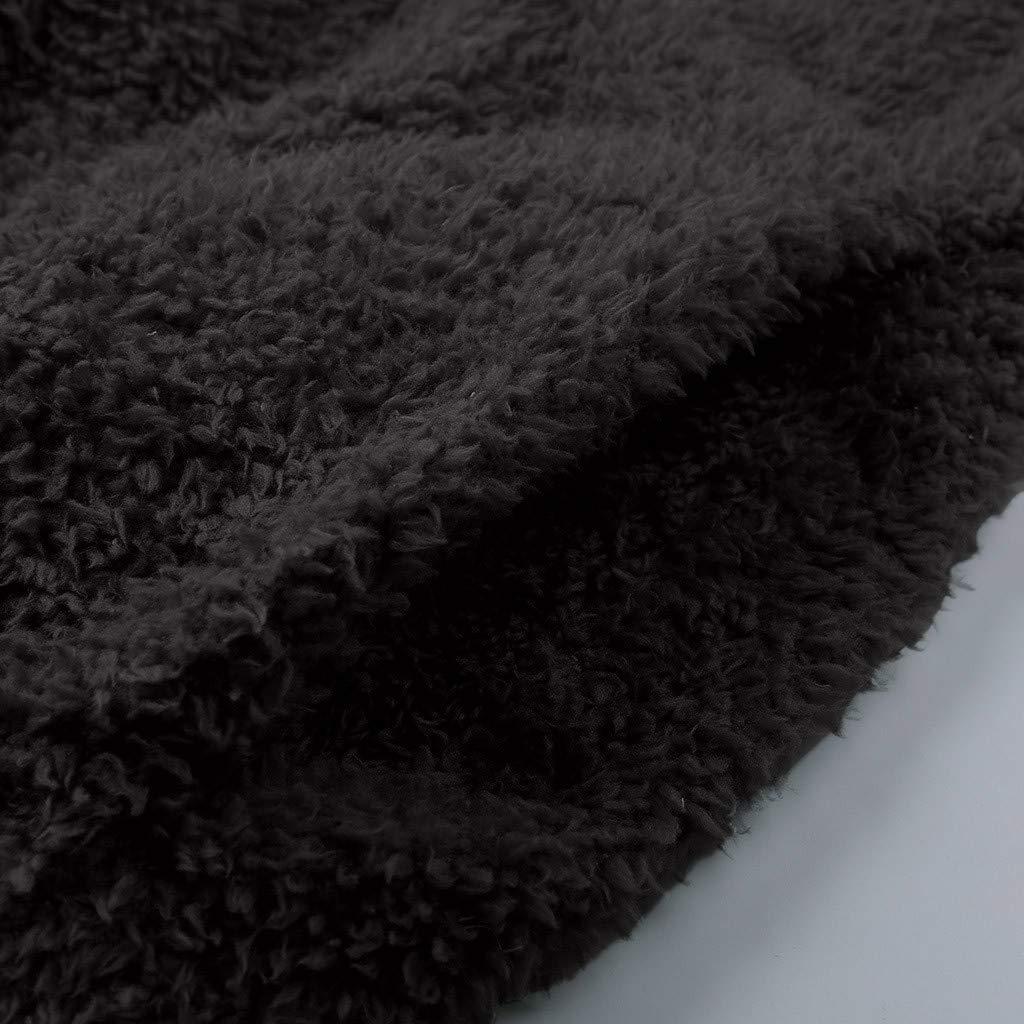 Meikosks Womens Patchwork Sweatshirts Warm Wool Hooded Pullover Zipper Pockets Outwear Tops