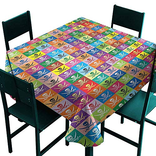 - Warm Family Skull Elegance Engineered Tablecloth Skull and Crossed Pirate Flags Jolly Roger Inspired Pattern Colorful Design Print Indoor Outdoor Camping Picnic W63 x L63 Multicolor