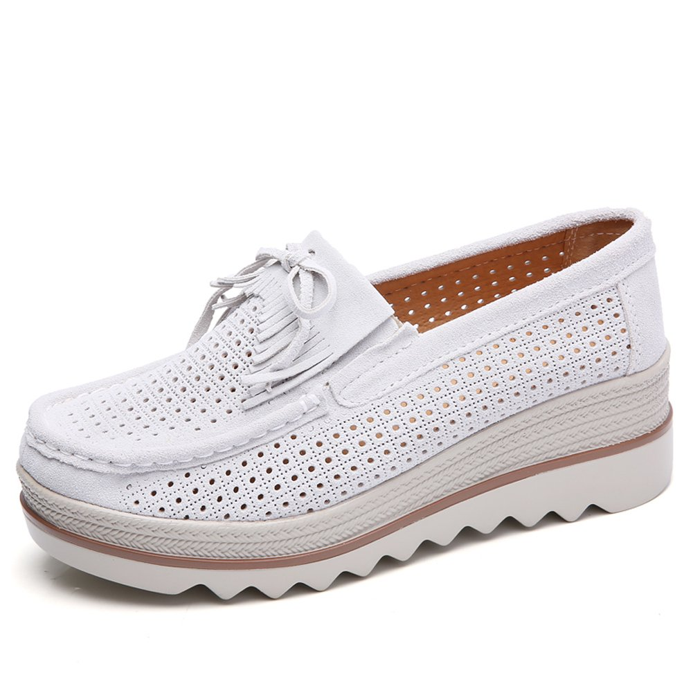STQ-2017-2mibaise36 Women Wedges Shoes Platform Moccasins Sneakers Summer Hollow Suede Tassel Ladies Slip On Comfort Shoes Warm Grey 6 B(M) US