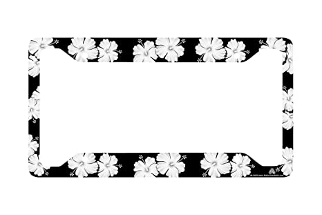 Amazon.com: Airstrike Tropical Flowers Hibiscus Black License Plate ...