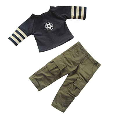 18 inch Boy Doll Clothes, Boys Dolls Soccer Outfits Dark Blue Footable T-shirt & Army Green Sport Cargon Pants For 18 inch American Boy Doll, Pack of 2 pcs