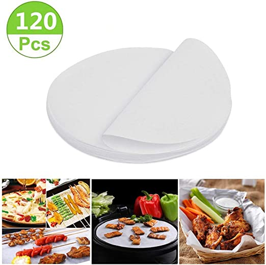 Premium Perforated Parchment Steaming Papers Non-stick Steamer Mat Air Fryer Parchment Paper for Air Fryers//Baking//Cooking 8 inches Air Fryer Liners,Bamboo Steamer Liners Set of 200